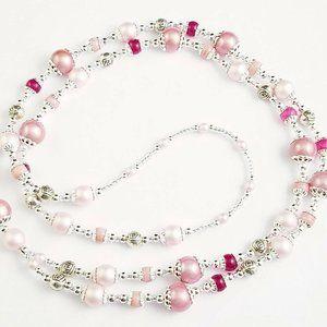 Jewelry - Beaded Lanyard~Pink & Silver~Badge ID Holder
